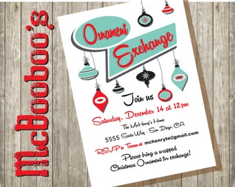 Ornament Exchange Invitation on a white background done in a retro style