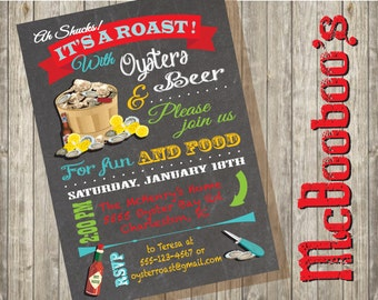 "Chalkboard Oyster Roast Party Invitations. Say ""Ah Shucks"" to this fun invitation!"