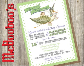 Vintage retro Storybook Stork Baby Shower Invitations