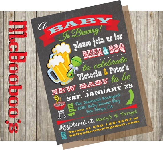 A Baby Is Brewing Couples Baby Shower Invitations On A
