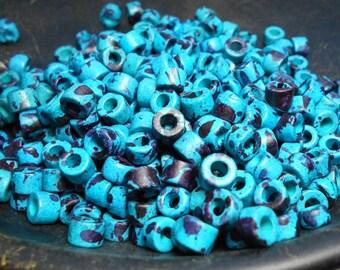 45 Ceramic Mini Tube Beads 6x4mm Mykonos Greek Mottled Blue Beads, Blue Beads Turquoise Beads, Jewelry Supplies, Sewing Supplies, D-K11