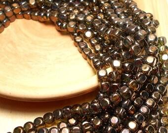 6mm Bronze Cube Czech Beads, Transparent Bronze Green Beads, 6mm Czech Beads, 6mm Metallic Beads, Cube Beads, Luster Czech Beads, T-97B