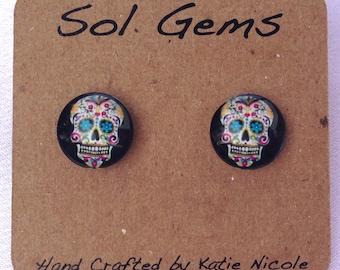 Black Sugar Skull Earrings - Day of the Dead Earrings - Dia De Los Muertos Earrings - Jewelry