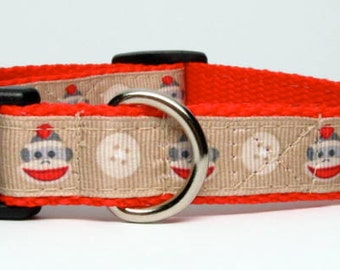 Red Sock Monkey Small or Medium Adjustable Dog Collar 3/4 inch Quick Release
