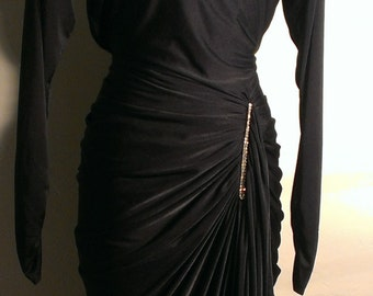 1980's Night Moves Black Ruched Dress with Rhinestones and open back.