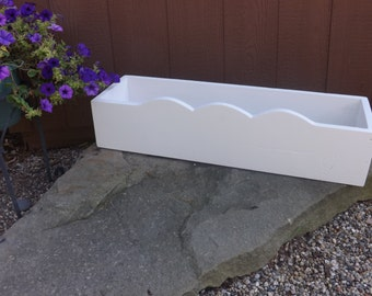 White scalloped planter box/Flower box/ Wedding box/Indoor, outdoor box/Herb planter box