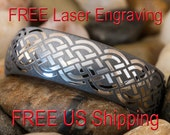 Tungsten Wedding Ring 8mm Dome Celtic Knot Black Lasered Design-Free Inside Engraving