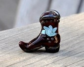 Lampwork Glass Brown Cowboy Boot with Blue and Pink Swirl