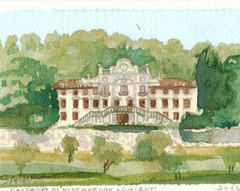 Vistarenni, Gaiole in Chianti, watercolor