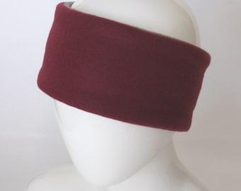 Gray Men Headband – Grey Unisex Fleece Headband - Burgundy Ear Warmer – Head Wrap - Burgundy Headband - Gray Headband