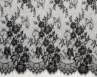 3yards eyelash lace fabric Bilateral Eyelash Lace, French Style Wedding Dress Lace Fabric, Off White Black Lace Fabric  Sell By Yard