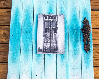 Ocean Blue Reclaimed Wood Door Frame With Cuban Door Photo