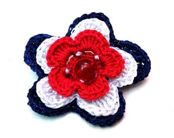 Patriotic flower brooch pin handmade crochet red blue white 4th of july patriotic with red glass bead