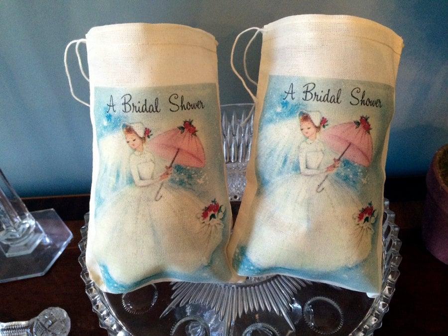 8 Bridal Wedding Shower Gift Favor Thank You Bags. Vintage