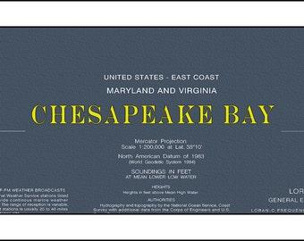 Chesapeake Bay Nautical Chart, Nautical Chart, Chesapeake Bay, Maryland Map, Virginia Map, Sailing Map, Sailing Art, Blueprint Map 2001