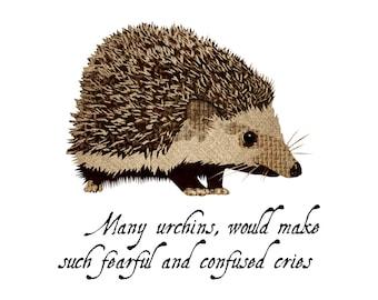 Urchin - Hedgehog - Hedge Hog - Nursery Art - Wall Art - 8x8 Fine Art Print - Shakespeare Quote - Titus Andronicus - Shakespeare's Zoo