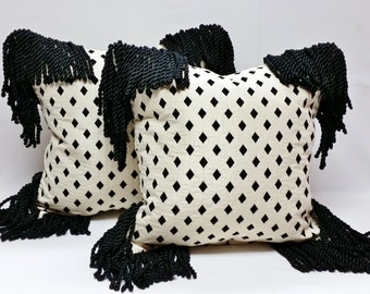 "Decorative Black and Cream fringed Pillow, 18""x18"""