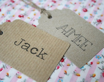Wedding Place Card Tag - Rustic Kraft, Manilla, Rustic Name Card