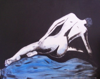 24x18 Abstract Black and White Painting of Woman