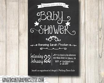 Chalkboard Gender Neutral Baby Shower Invitation - Invite - Printable