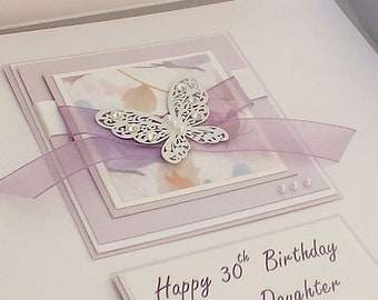 Personalised Birthday Card for Daughter or Mum - 'Lilac Butterflies' for 18th, 21st, 30th, 40th, 50th, 60th, 70th, 80th, 90th