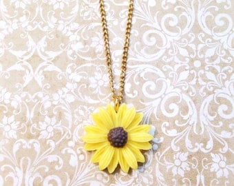 """Handmade """"Simply Sunflower"""" Sunflower Necklace with Gold Chain"""