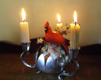Vintage SET Art Deco Silver Plated Lotus Candle Holder 1950s marked Italy with hand painted Ceramic Cardinal Bird figurine 1970s Home Decor