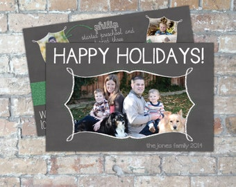 Glitter Chalkboard Holiday Card {Digital Item}