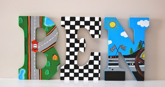 racecar theme hand painted wooden letters price is per letter read all info