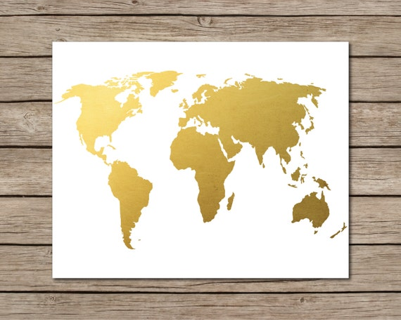 World Map Printable INSTANT DOWNLOAD Printable Gold World
