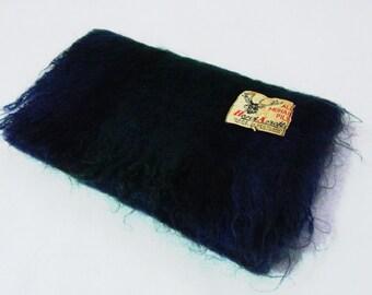 Mohair / Wool Scarf Neck Wrap Checks Pattern Made In Scotland BA