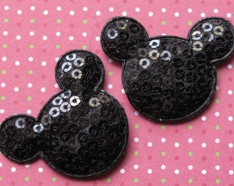 5 black sequined padded Mickey Mouse appliques - bow centers