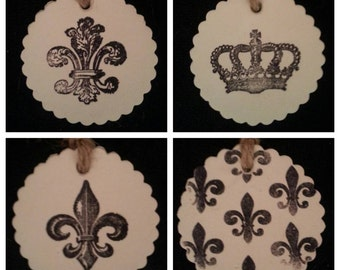 Set of {4} Fleur-de-lis French Inspired Polymer Clay Tags