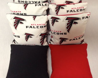 ATLANTA FALCONS 8 Cornhole Bags Print Fronts With Duck Backs