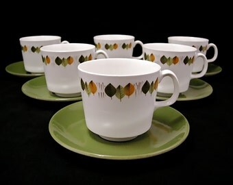 Johnson Brothers Mid Century Modern Coffee Cups & Saucers ~ Set of 6
