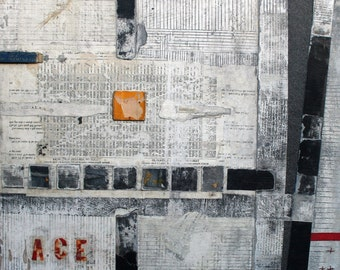 ACE: Mixed Media Original Painting. Acrylic paint, collage, thread, graphite. Mounted to wood panel.