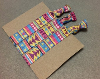 Hair tie, 3 pack Aztec ties, party gifts, party prizes, shower favor, elastic ponytail holder