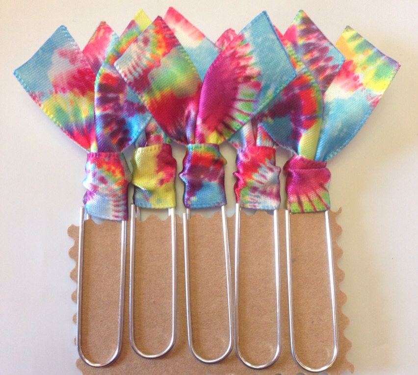 5 pk tie dye collection ribbon bookmarks jumbo by for How to tie a ribbon on a bookmark