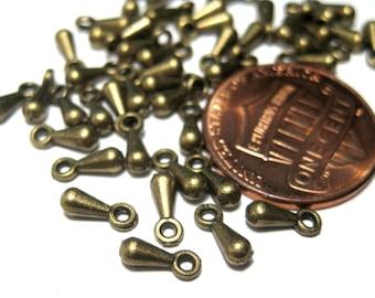 108pcs Antique Bronze Charms Pendants 7x3mm Drop Metal Beads(lo1)