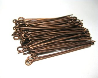 100pcs Dark Antique Copper Eye pins 40mm 21ga (No.594)
