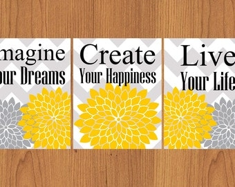Imagine Your Dreams Create Your Happiness Live Your Life Floral Burst Yellow Grey Chevron Bathroom Spa Wall Art Decor Set of 3 8x10 (142)