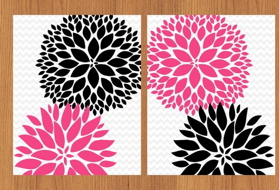 Floral flower burst hot pink black grey chevron wall art baby for Hot pink and black wall decor