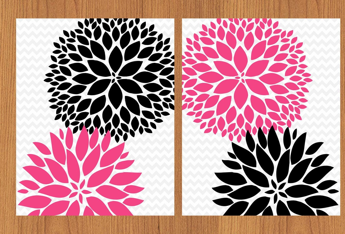 floral flower burst hot pink black grey chevron wall art baby
