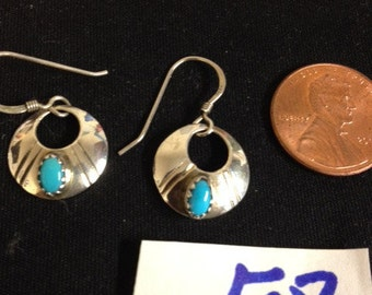 Turquoise and sterling silver dangle earrings -- new & better photos!