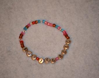 Child's phone number bracelet, child's name bracelet