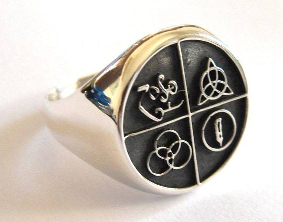 led zeppelin band four symbol silver 925 ring
