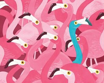 Flamingos! A3 Lithograph Art Print