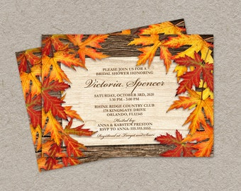 Fall Bridal Shower Invitation With Colorful Leaves, DIY Printable Wedding Shower Invitation Cards, Fall Bridal Shower Invites