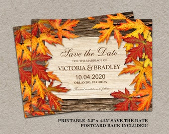 Printable Fall Save The Date Postcard, Printable Fall Wedding Announcements, Save The Date Postcards, DIY Printable Wedding Save The Dates