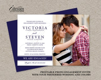 Photo Engagement Party Invitations, Printable Photo Engagement Invitation, Engagement Photo Invitations Cards